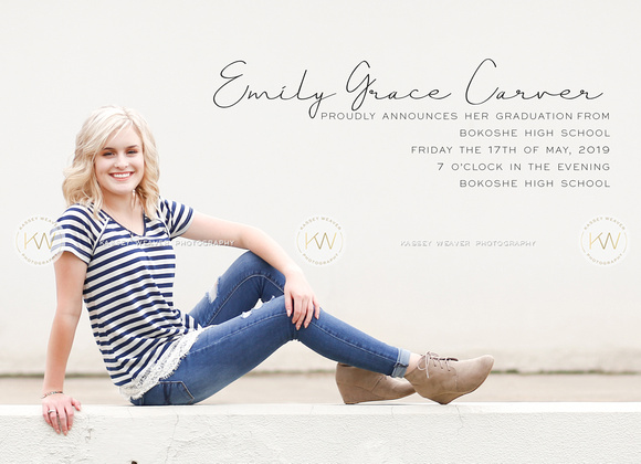 Kassey Weaver Photography | Grad Announcement Proofing | 2019